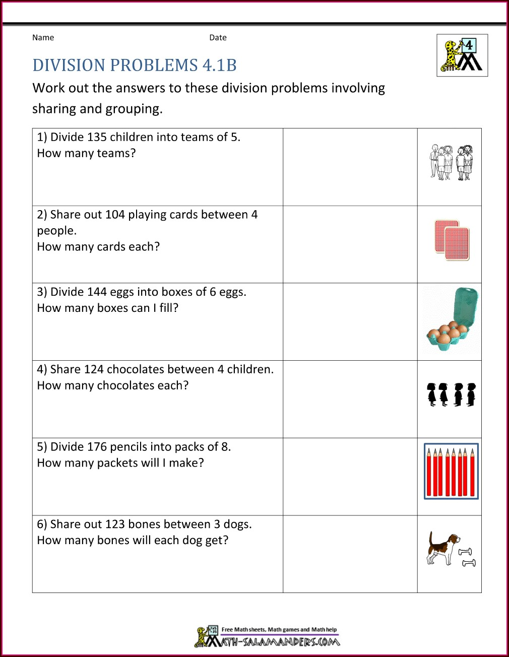 Math Worksheet 4th Grade Word Problems
