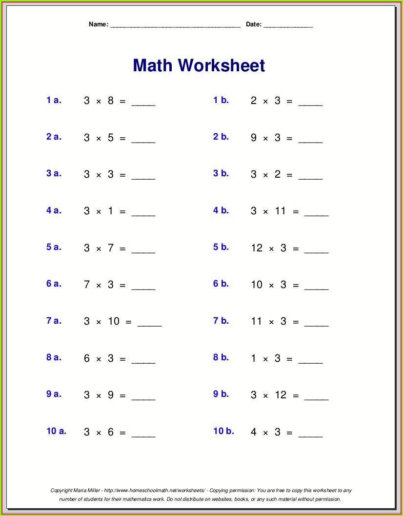 Math Worksheet For 3rd Grade
