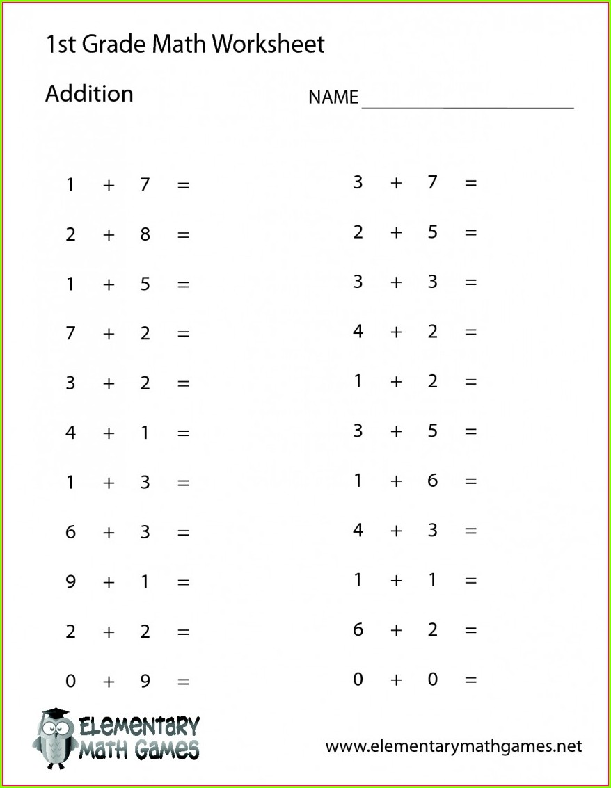 Math Worksheet For Grade 1 Subtraction