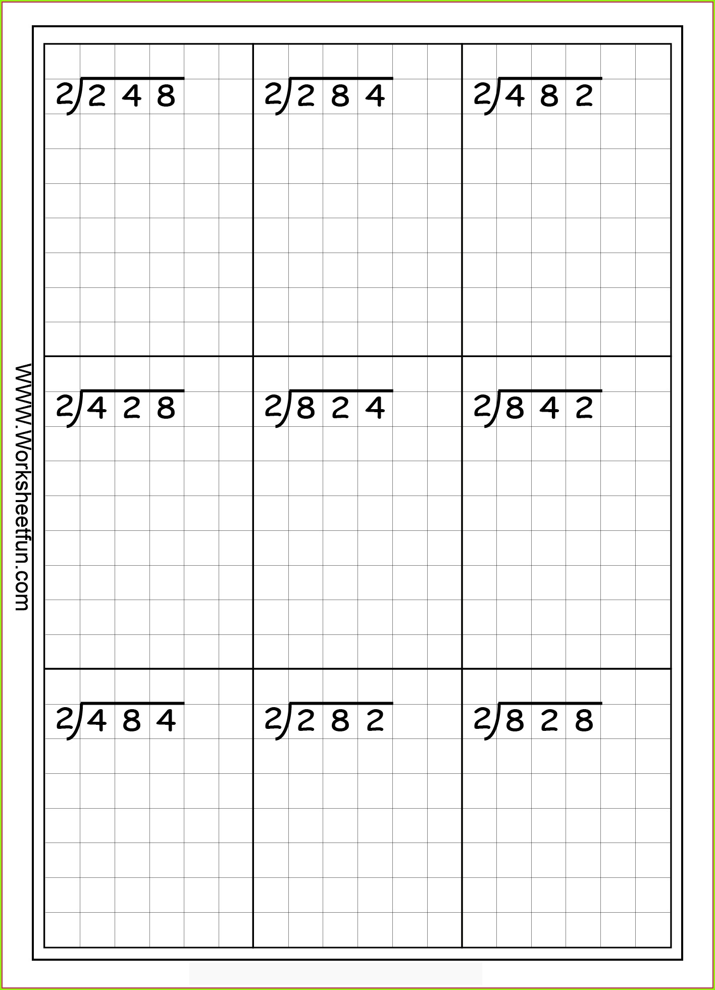 Math Worksheet For Grade 3 Division