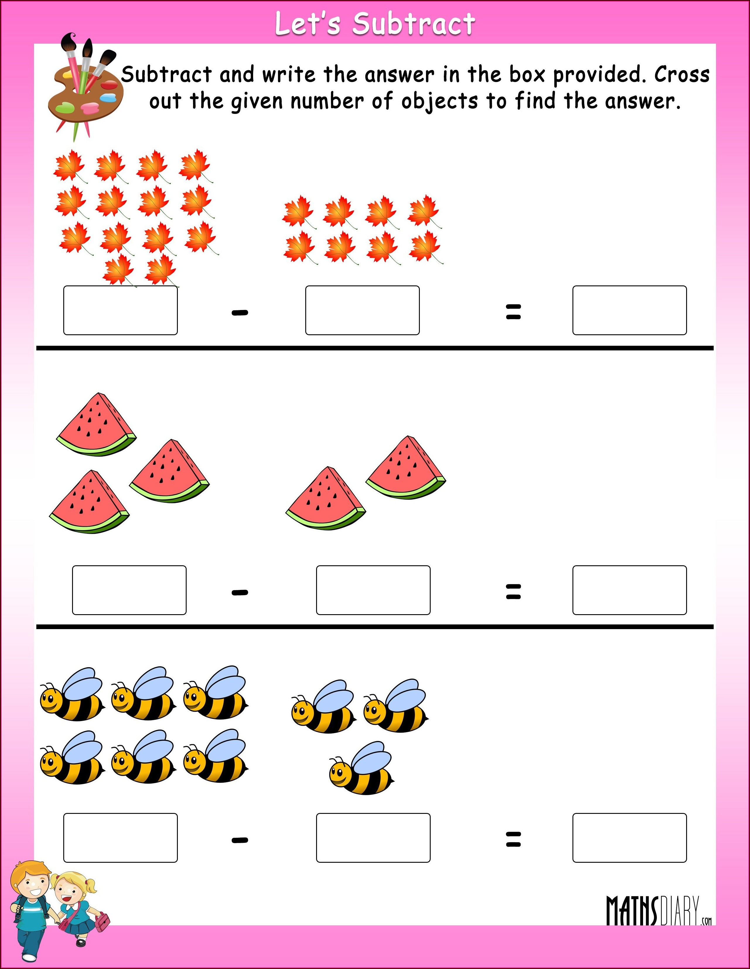 Math Worksheets For Grade 1 Subtraction Word Problems