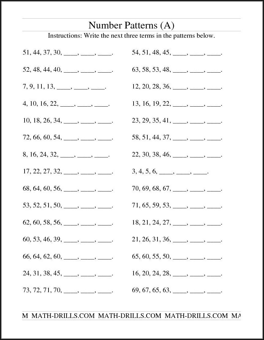 Math Worksheets Repeating Number Pattern