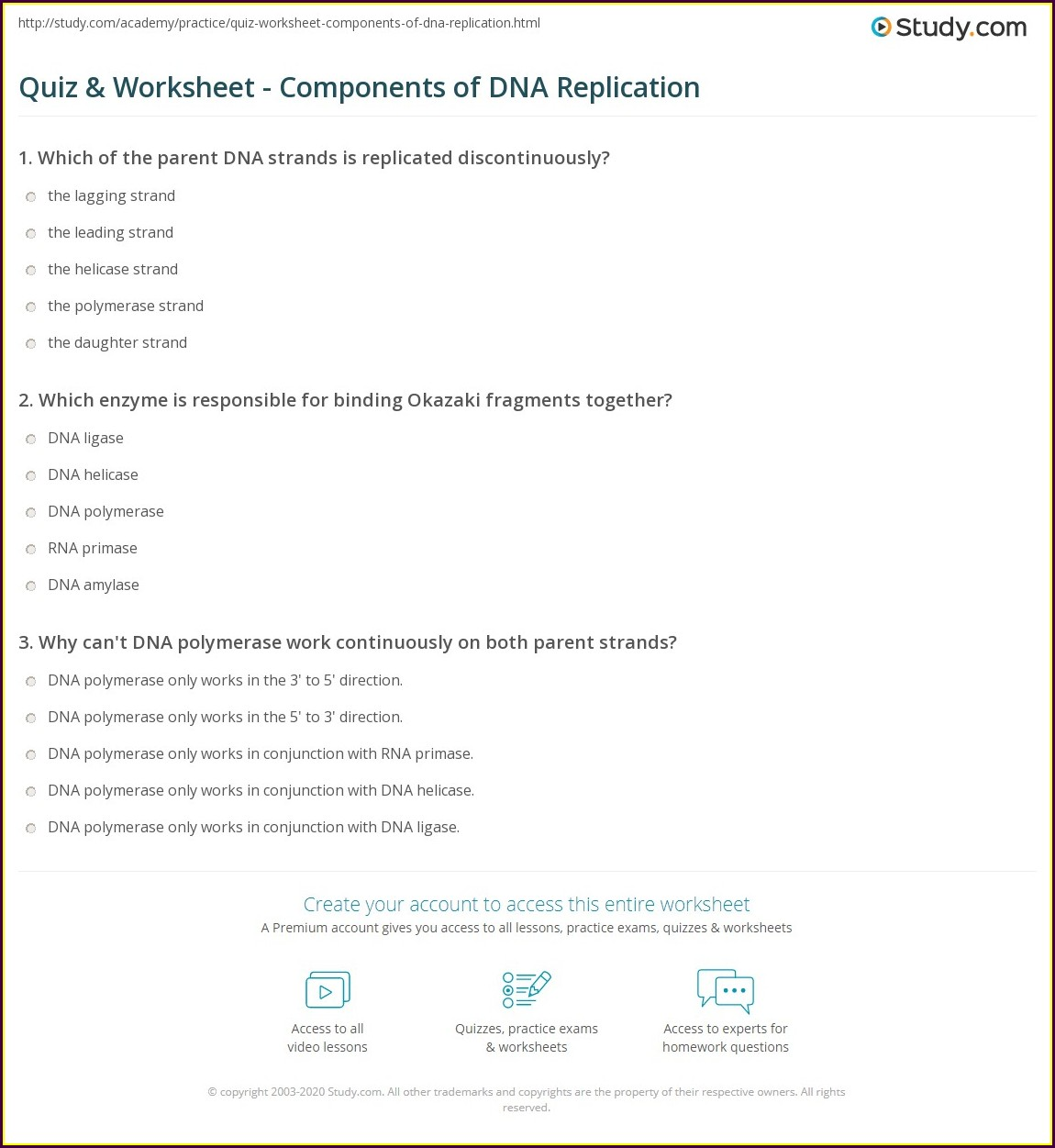 Middle School Dna Replication Worksheet