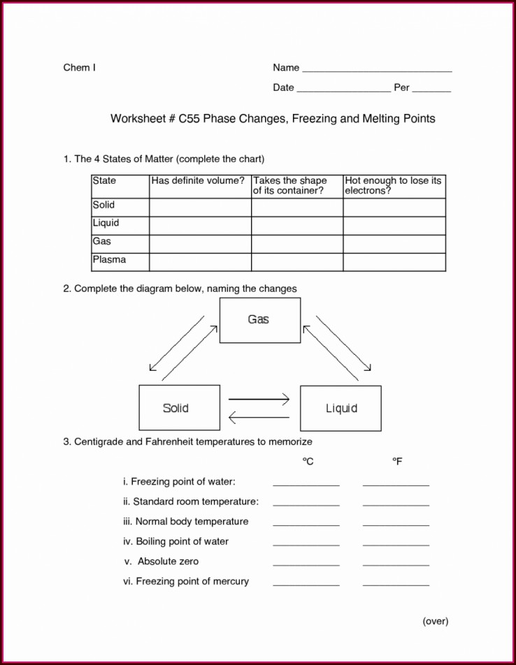 Middle School Phases Of Matter Worksheet