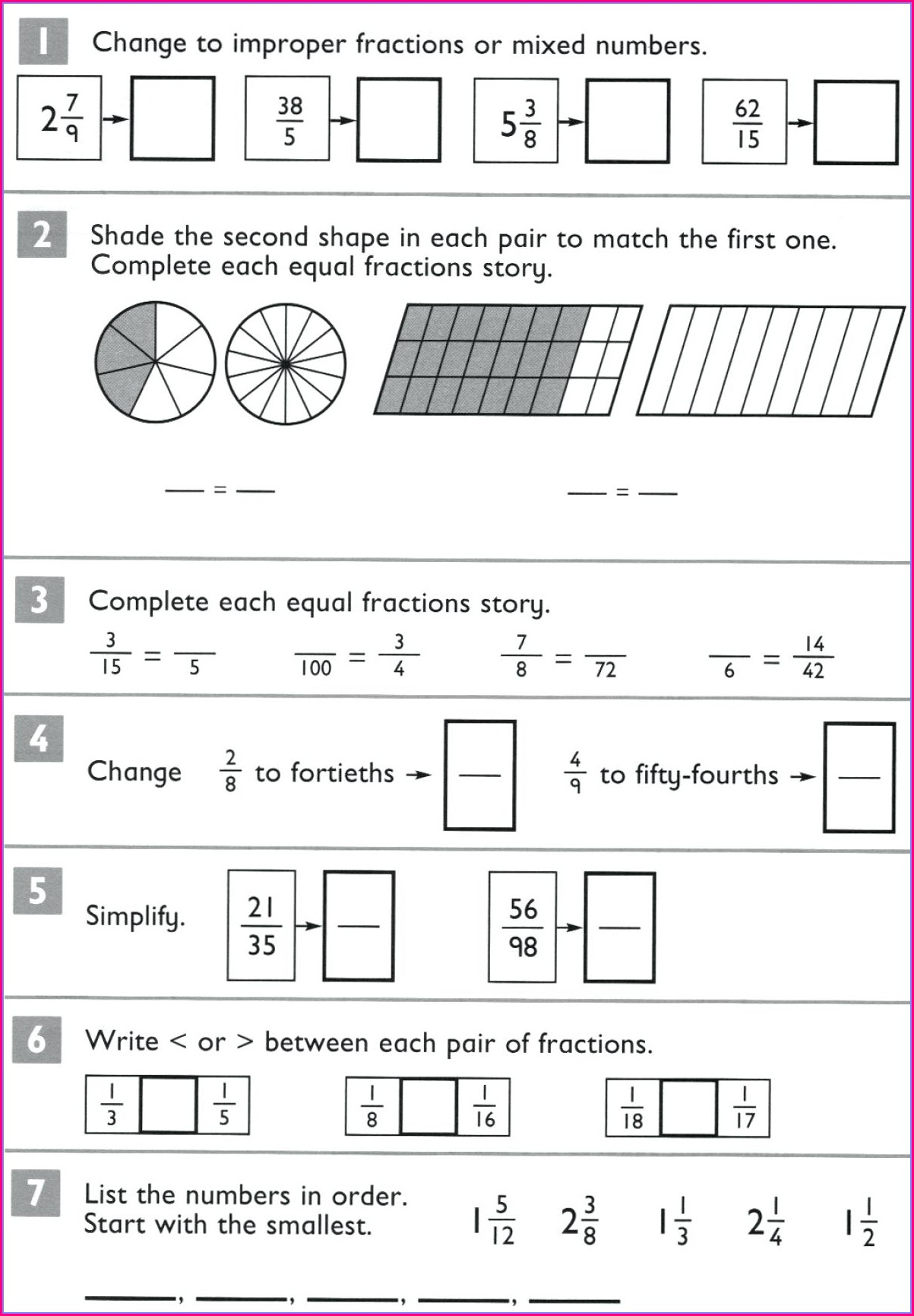 Mixed Fractions Number Line Worksheet