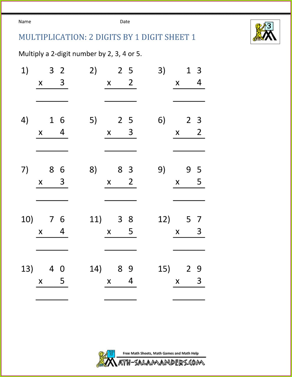 Multiplication By 2 Worksheet For Grade 1