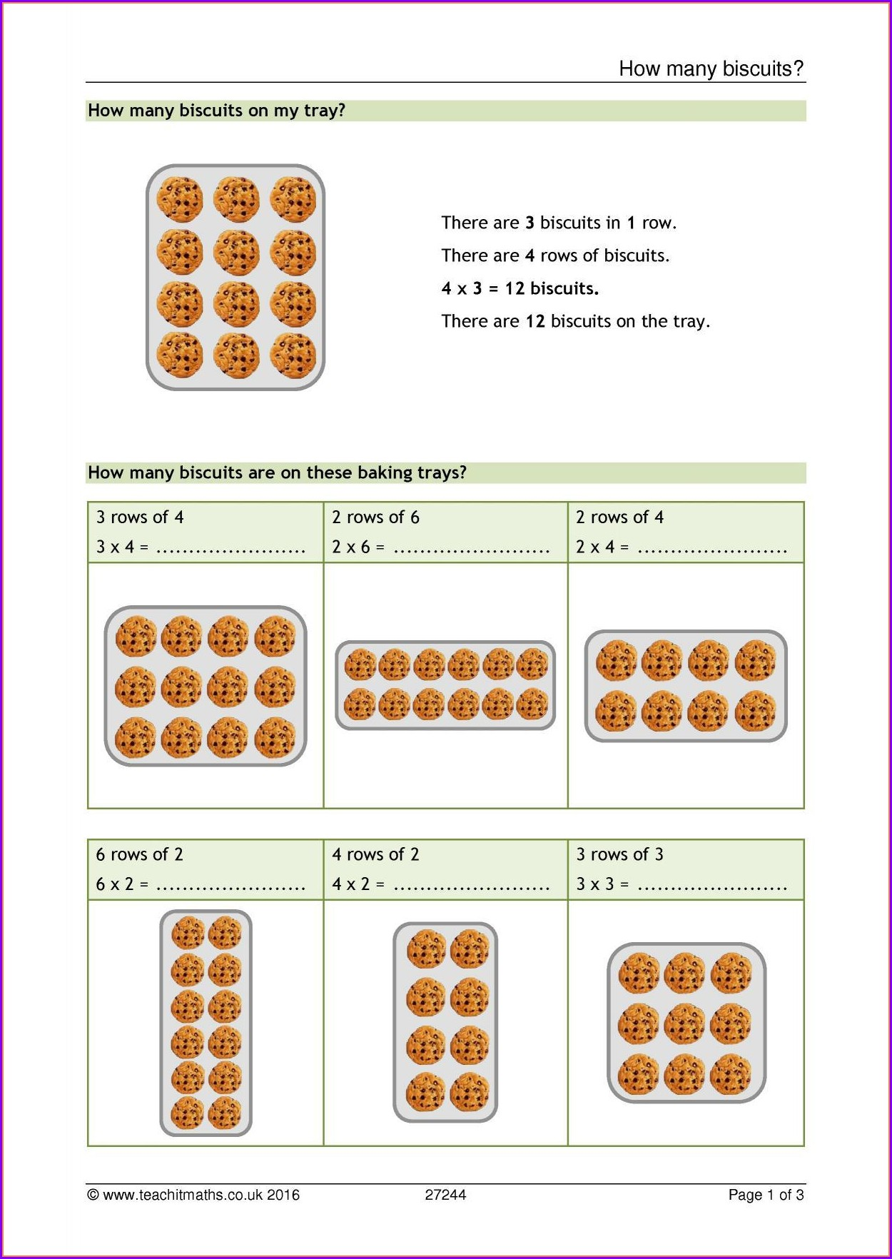 Multiplication Worksheet Level 3