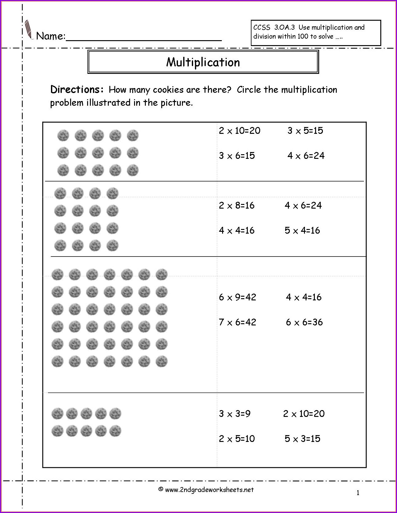 Multiplication Worksheets On Arrays