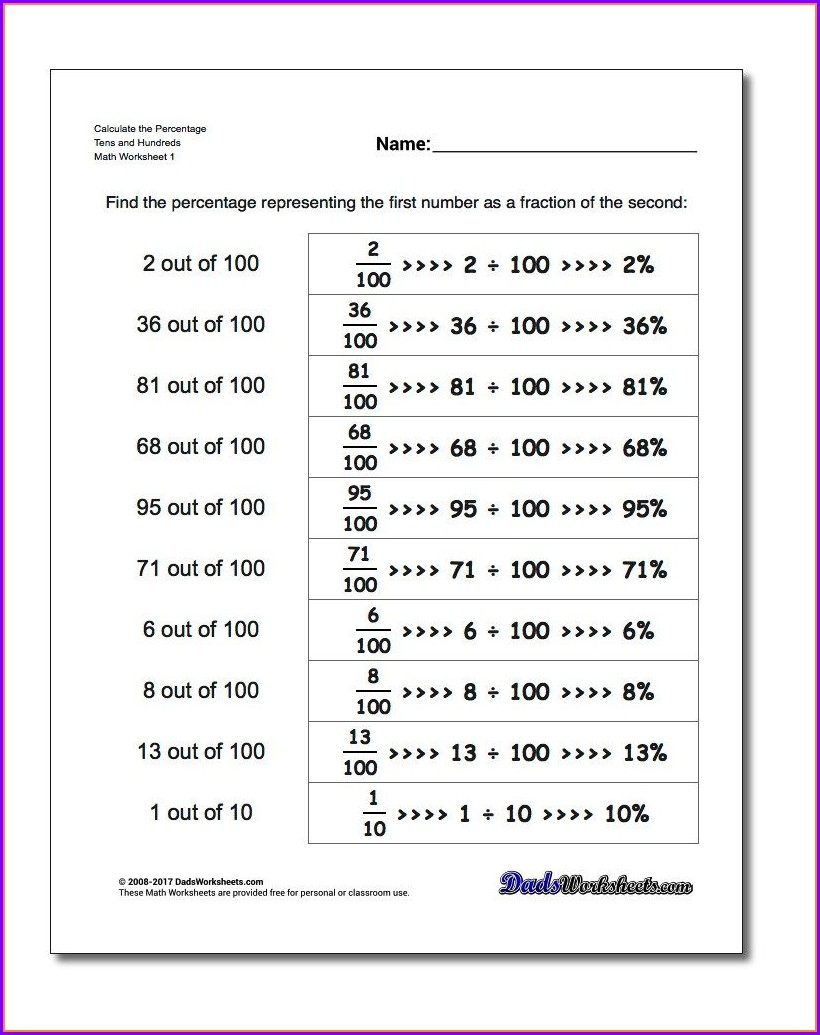 Multiplying Fractions Finding Percentages Area Math Worksheet