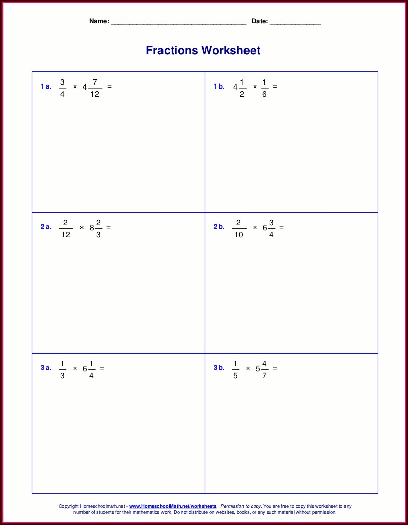 Multiplying Mixed Numbers Area Model Worksheet