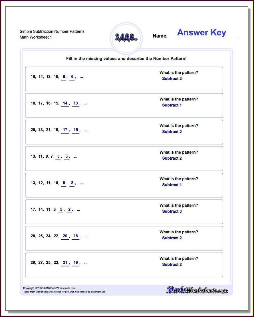 Number Patterns Worksheet For Grade 7