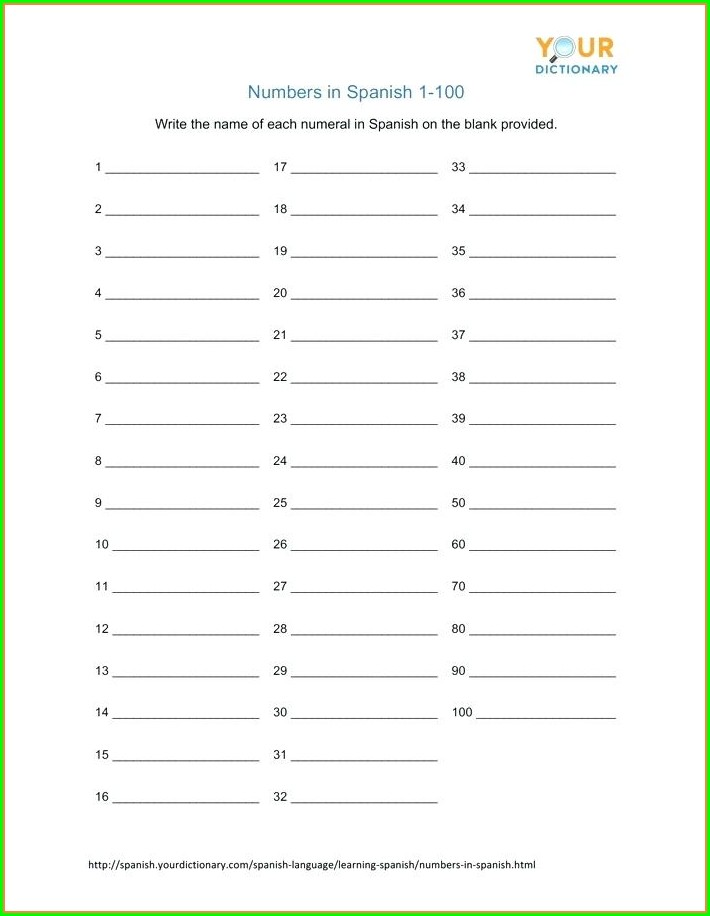 Numbers In Spanish 1 100 Worksheet