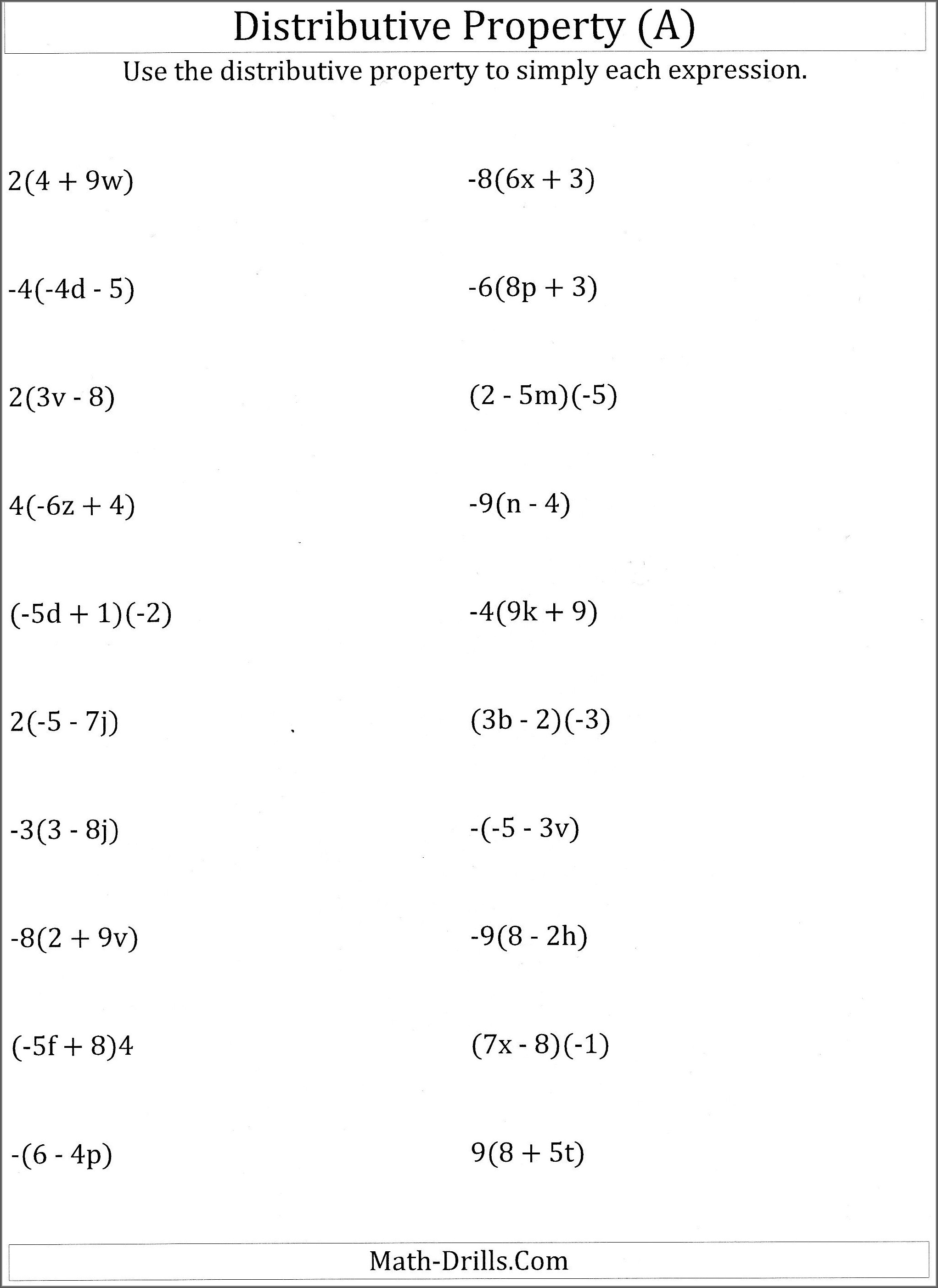 Order Of Operations With Distributive Property Worksheet