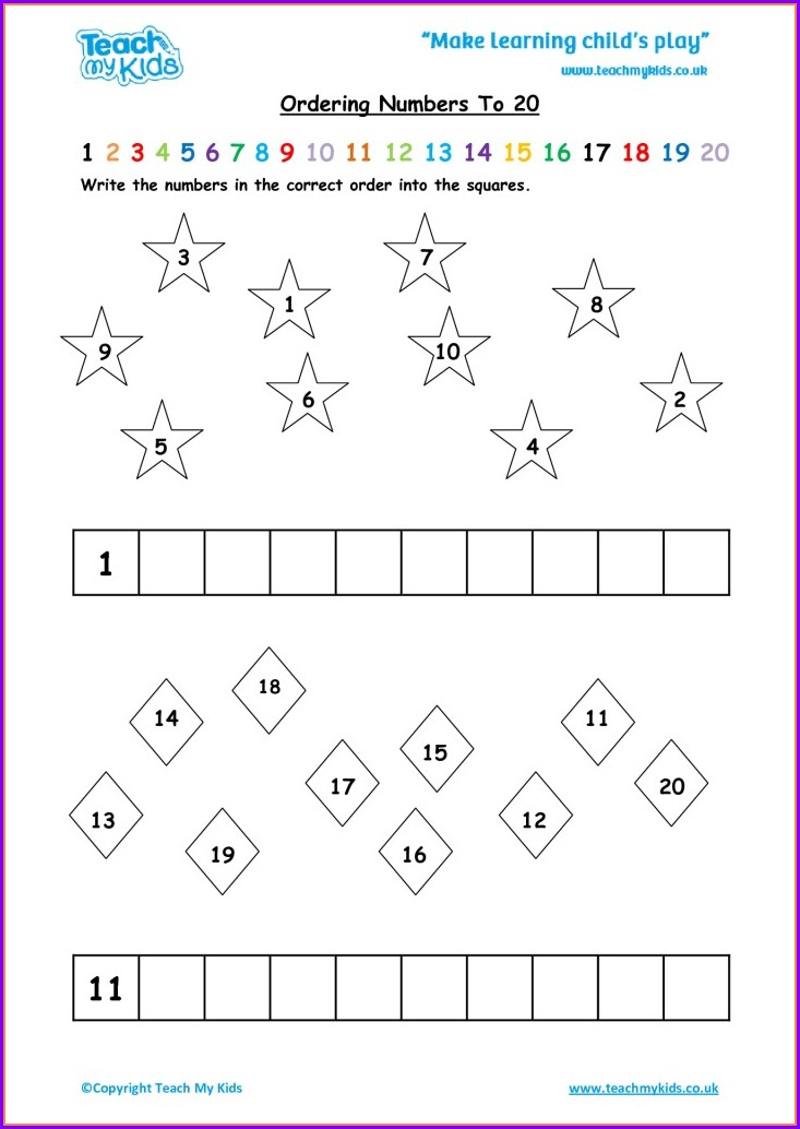 Ordering Numbers To 10 Worksheet Ks1