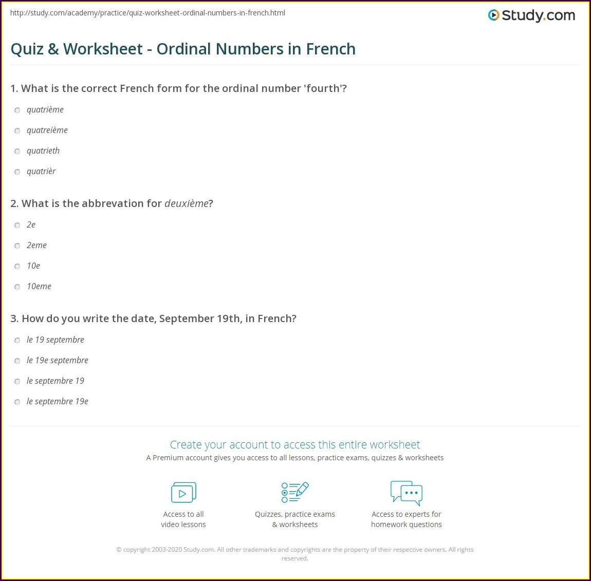 Ordinal Numbers In French Worksheet
