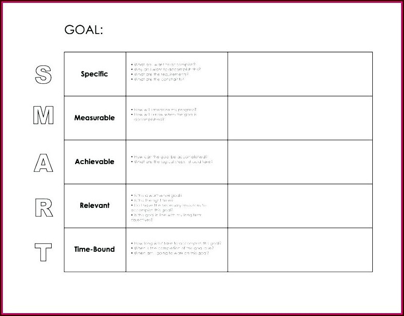 Pdf Smart Goals Worksheet For Students