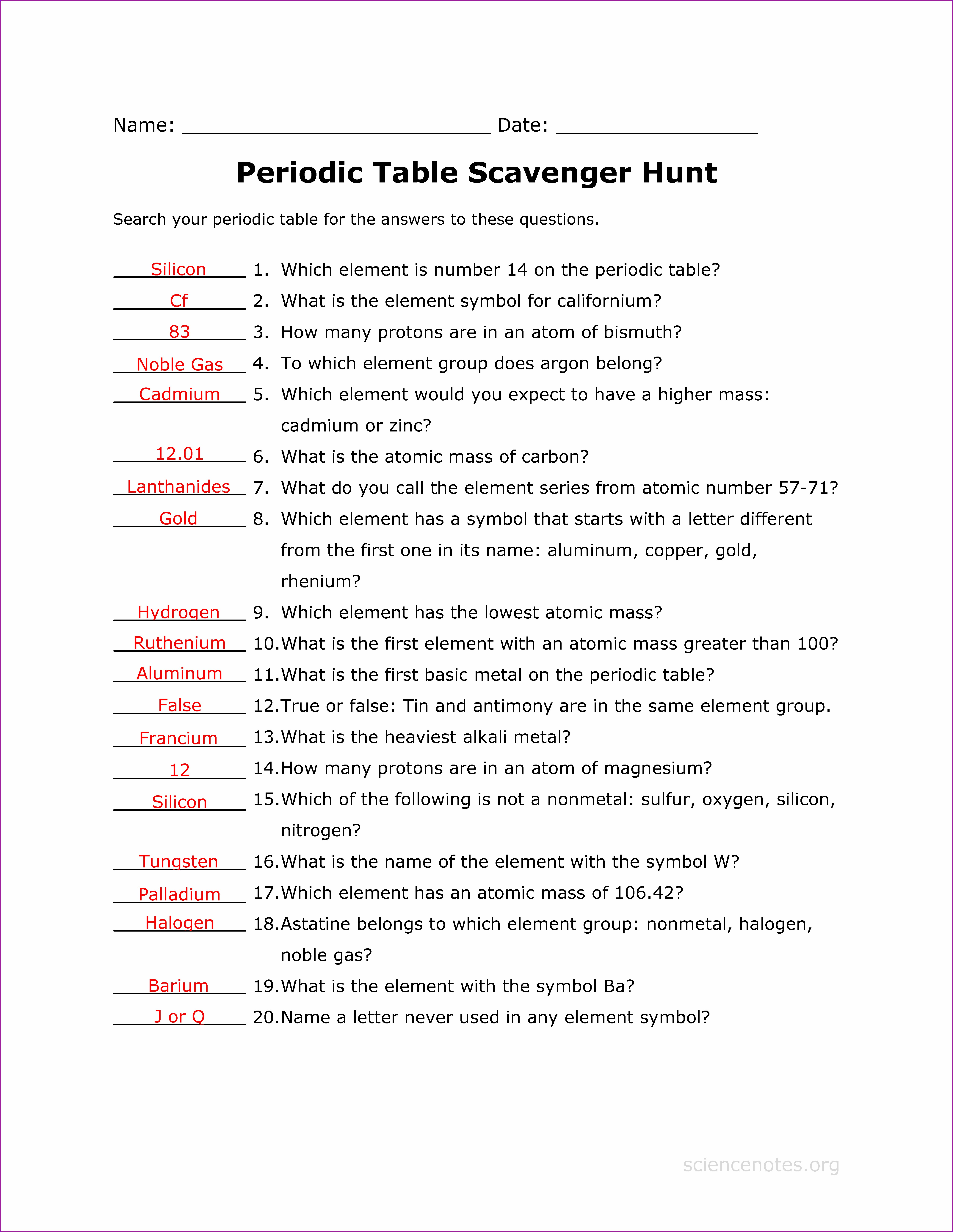 Periodic Table Scavenger Hunt Worksheet Answer Key