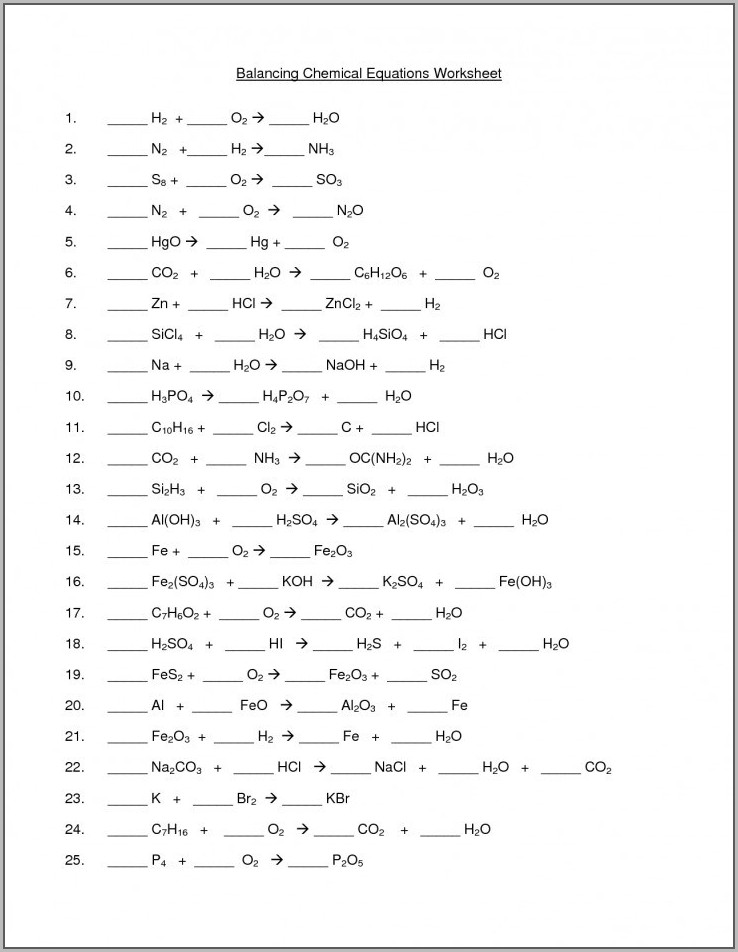 Physical Science Balancing Equations Worksheet Answer Key