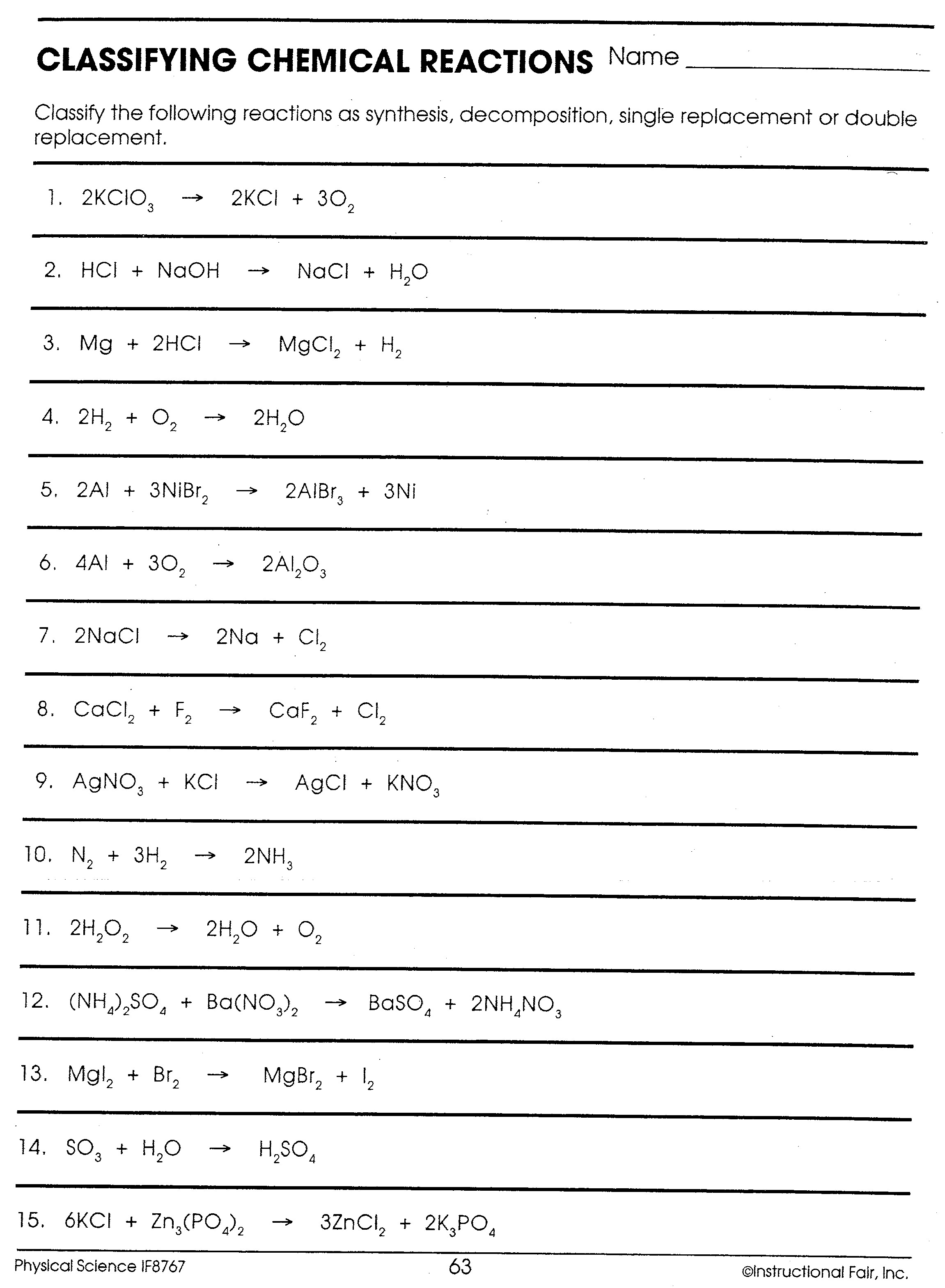 Physical Science Balancing Equations Worksheet