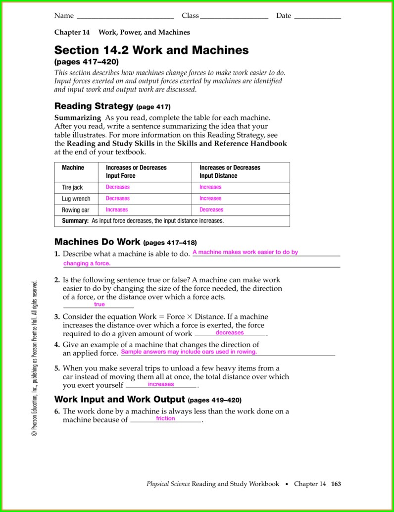 Physical Science Work And Power Worksheet