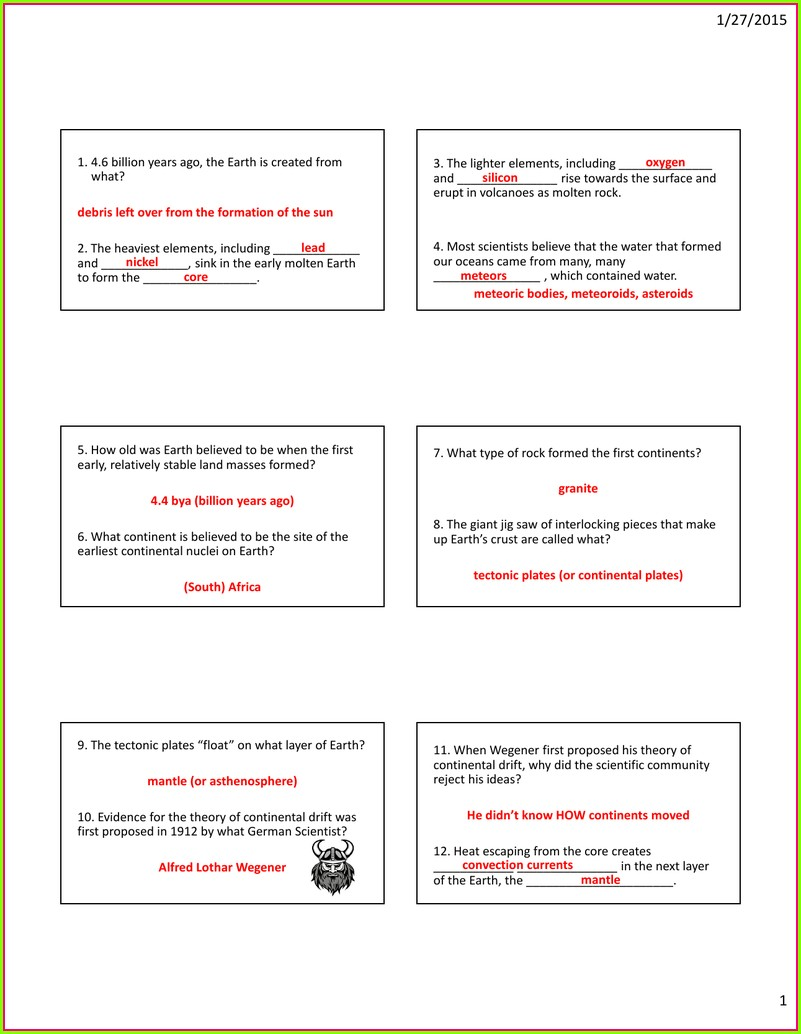 Plate Tectonics Video Worksheet Answers