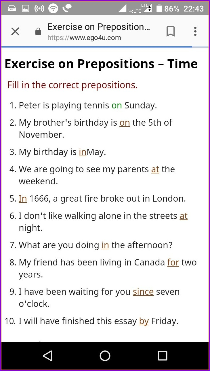 Prepositions Worksheet For Grade 4 With Answers