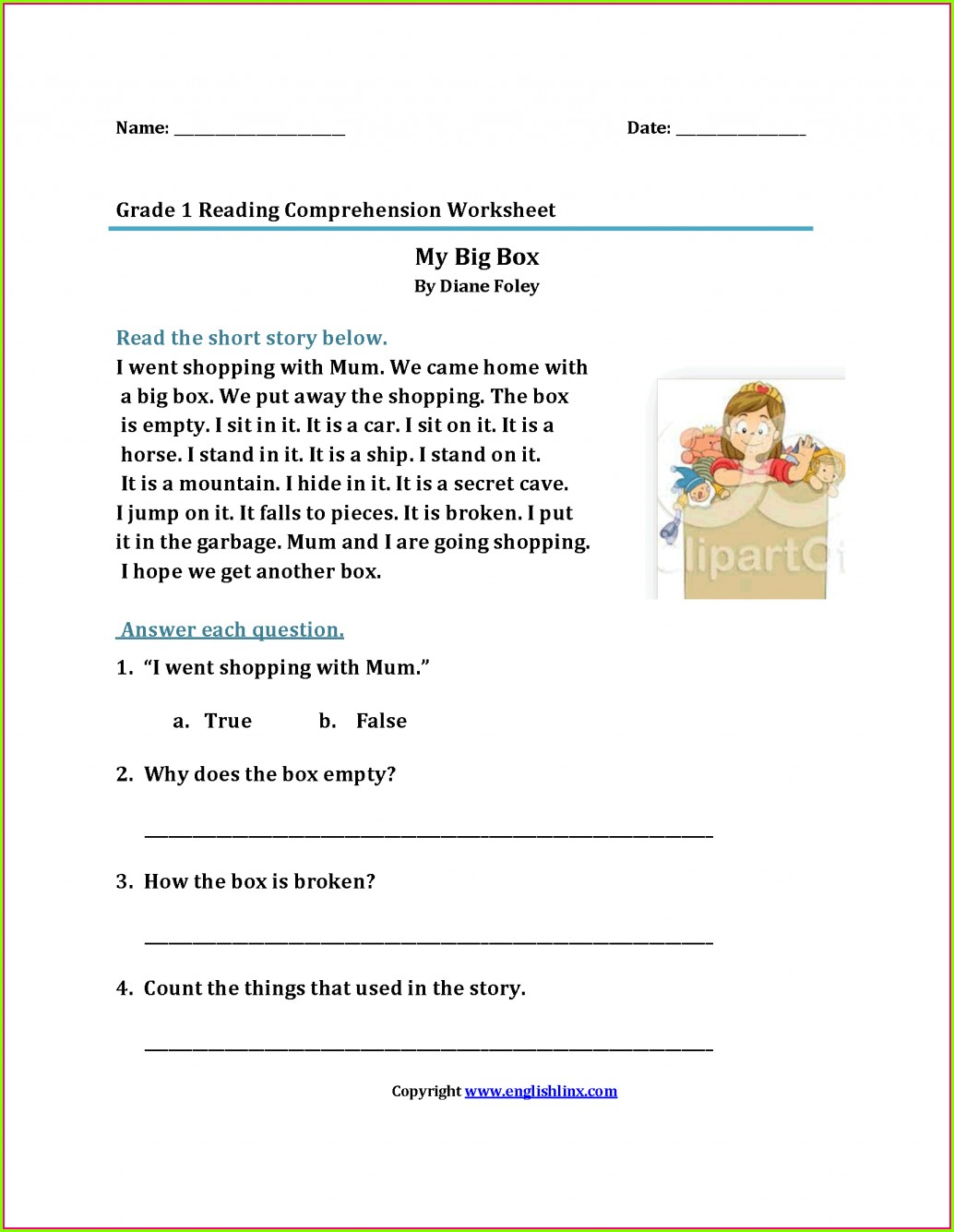 Printable 1st Grade Handwriting Worksheets Pdf