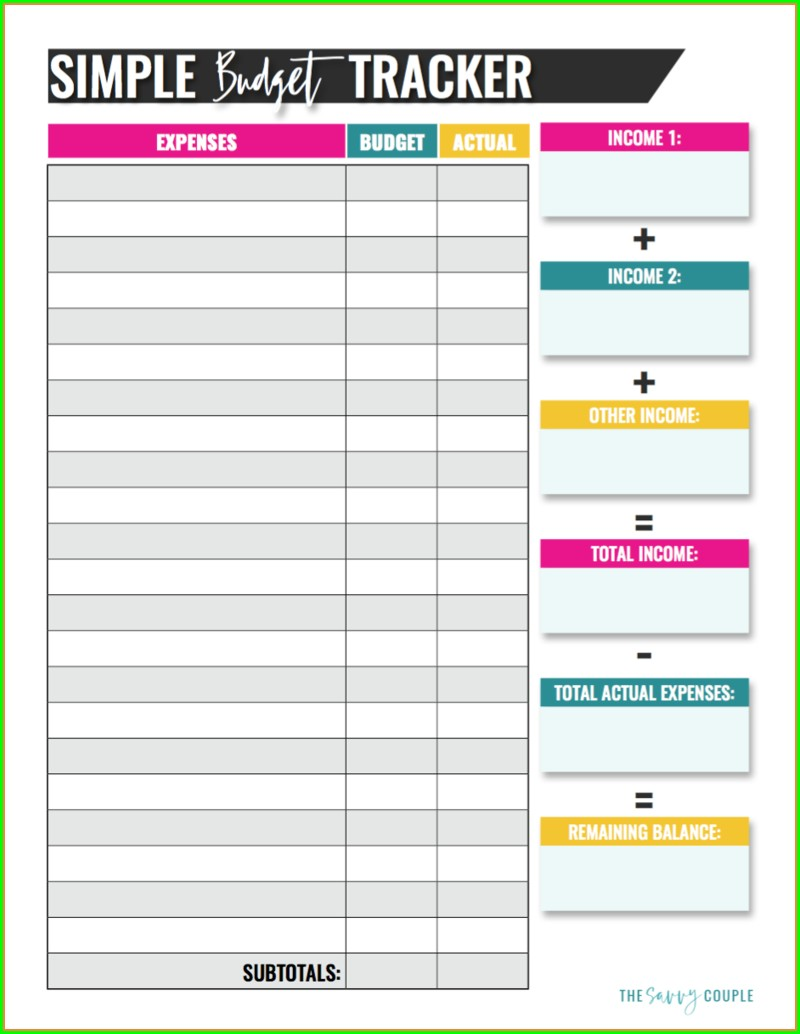 Printable Budget Worksheet For Students