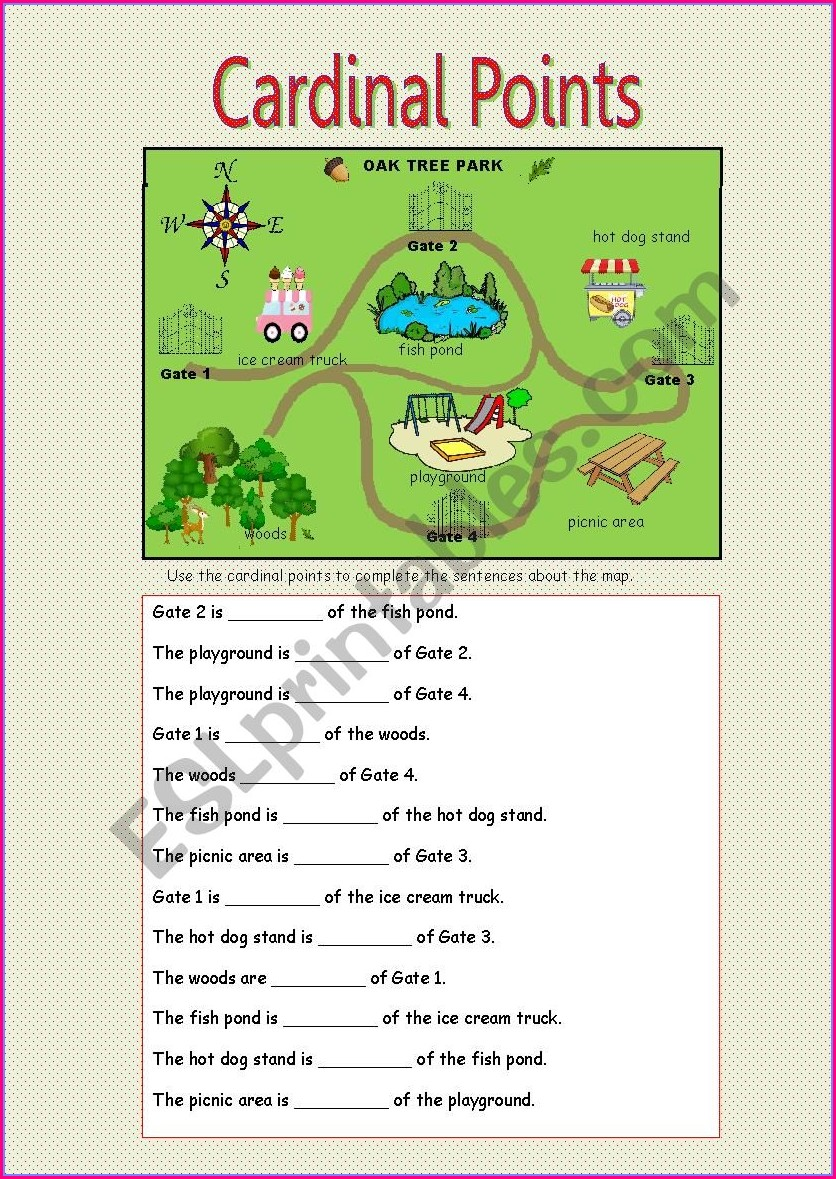 Printable Cardinal Directions Worksheet Pdf