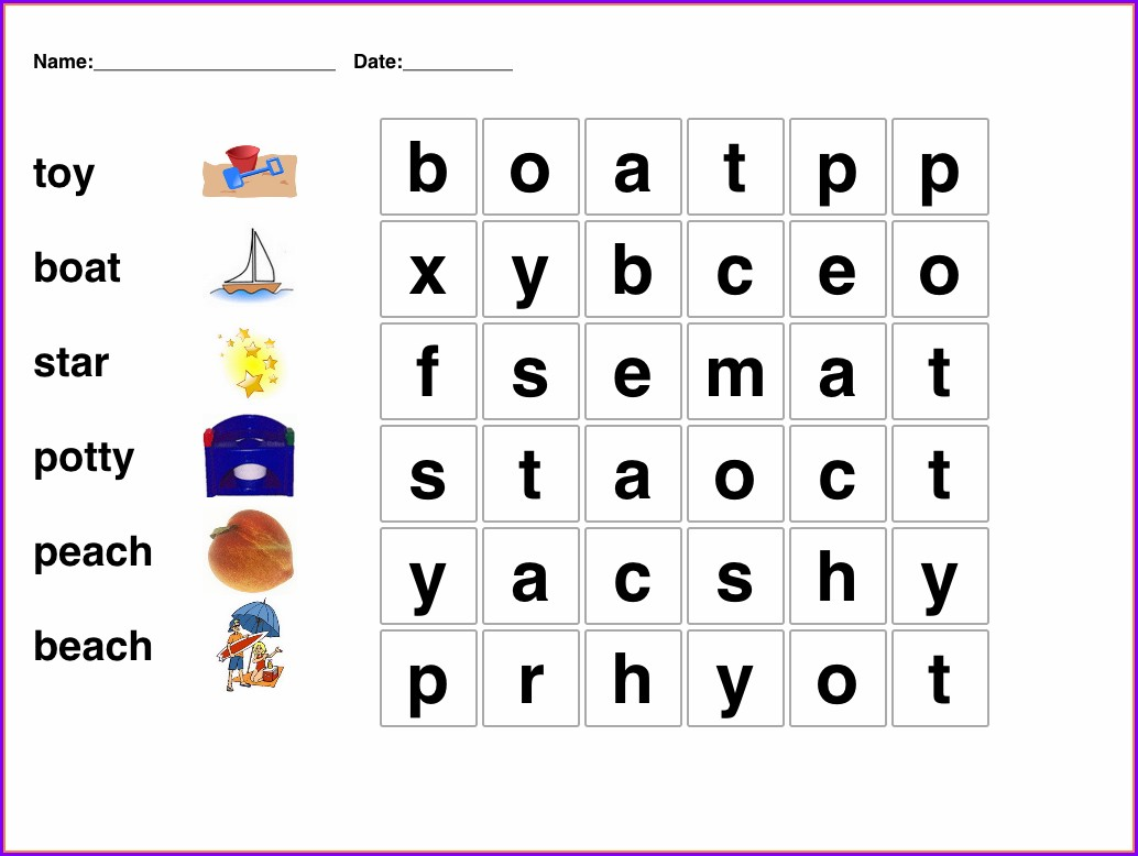 Printable Easy Word Search Puzzles For Kids