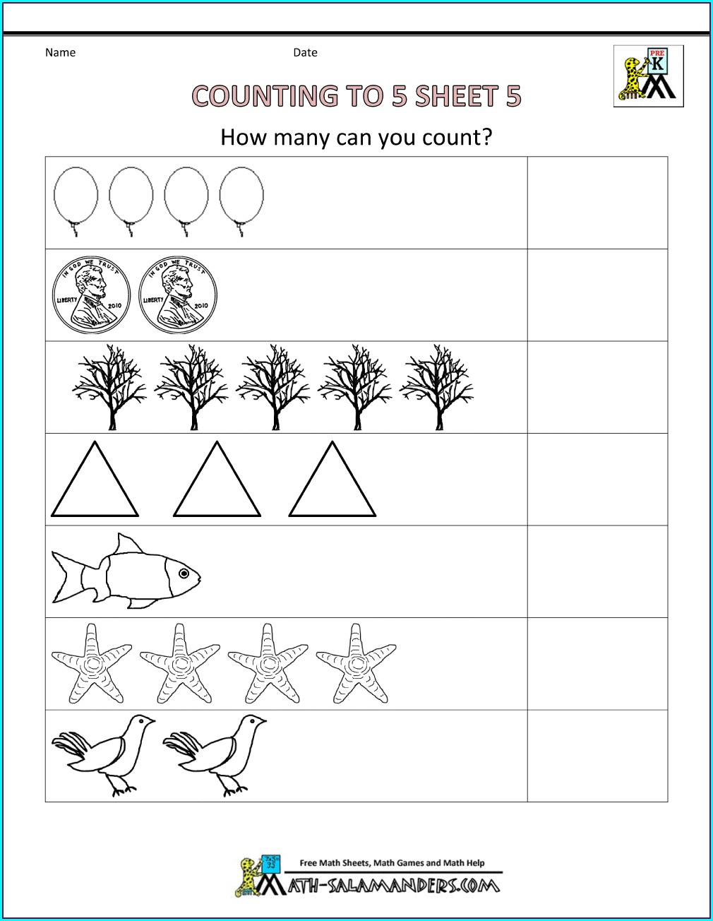 Printable Math Counting Games