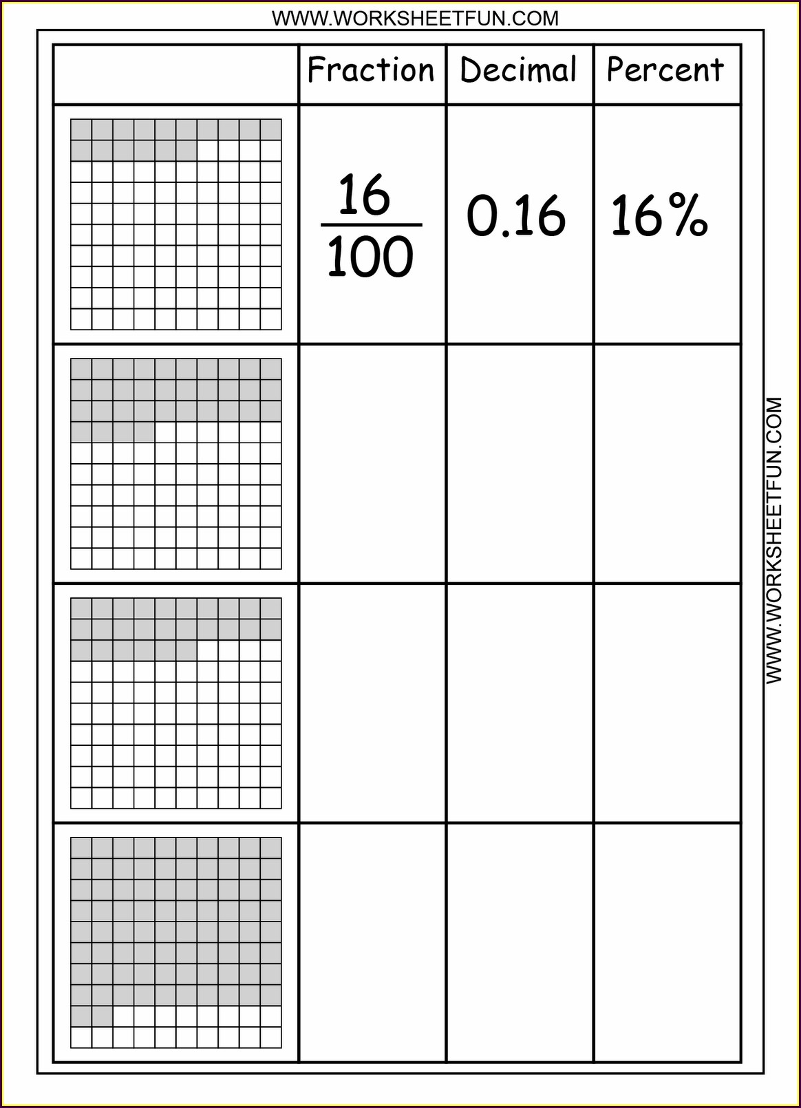 Printable Math Worksheets Decimals Fractions