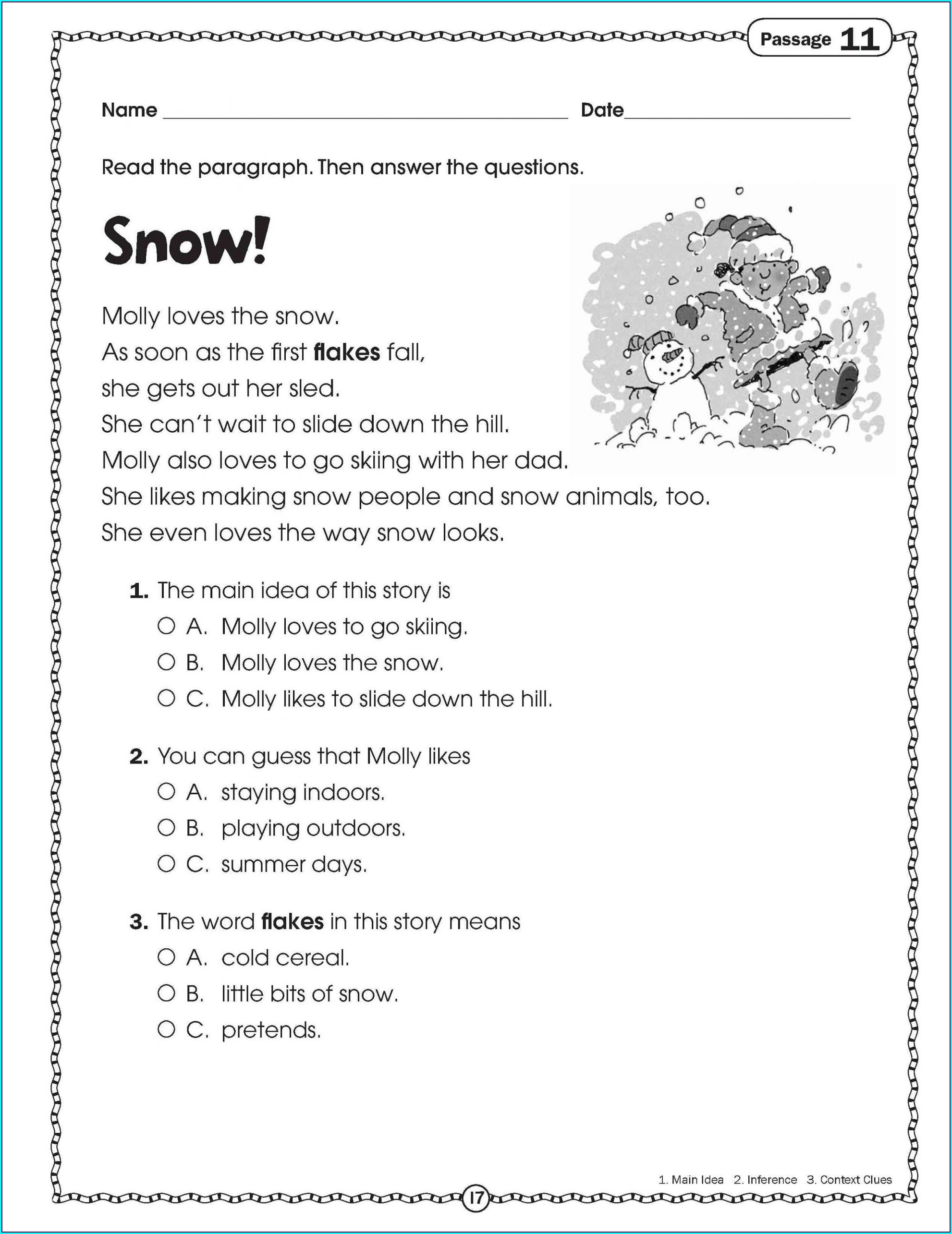 Printable Reading Comprehension Test For Grade 2