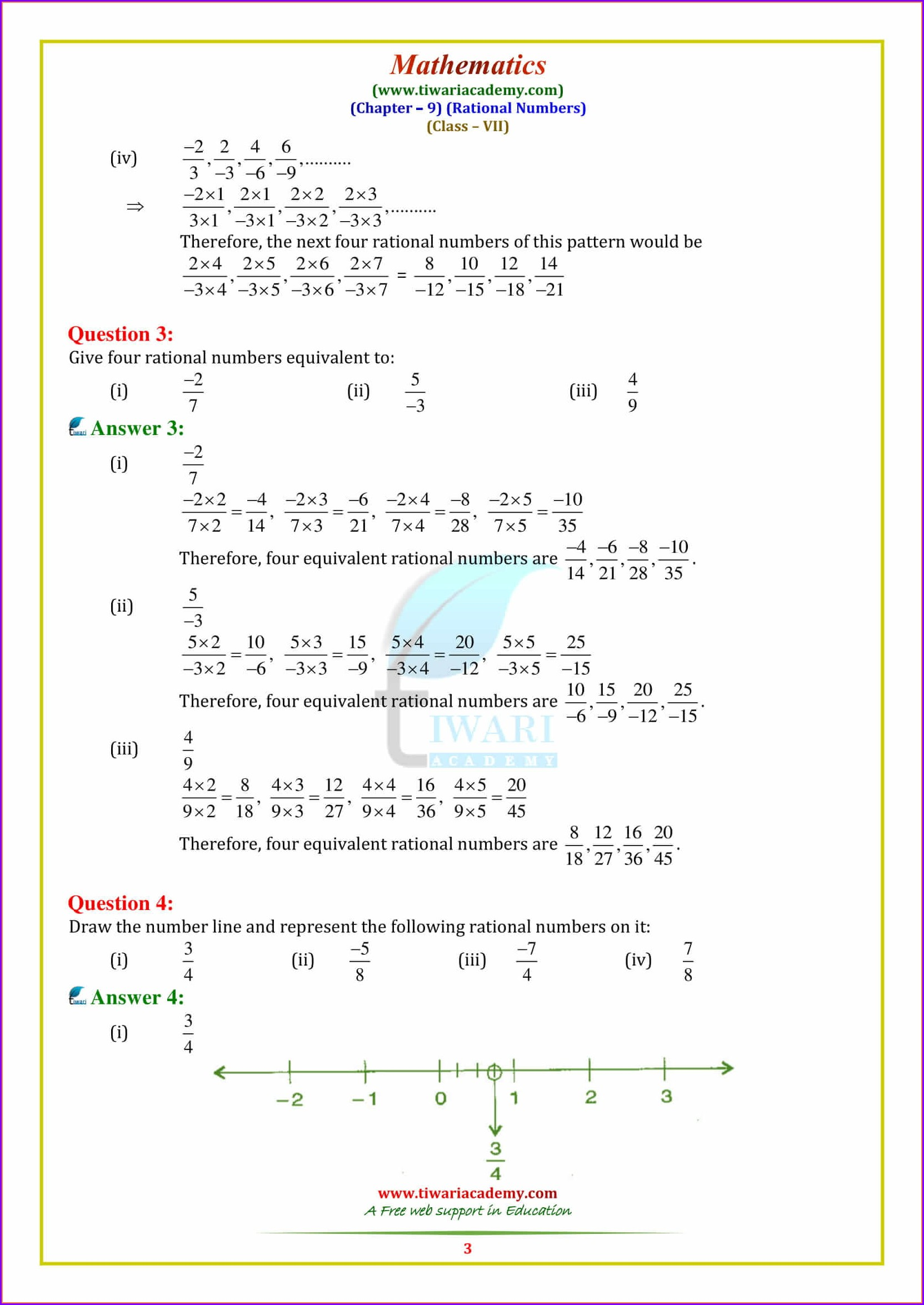 Rational Numbers Worksheet Grade 7 With Answers Pdf