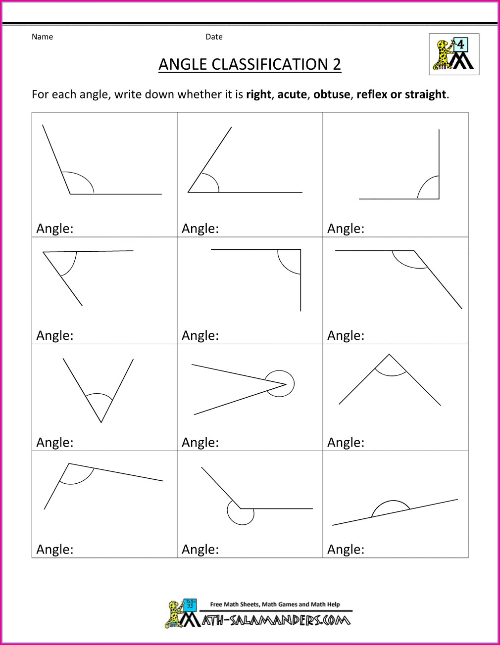 Reading A Protractor Worksheet 4th Grade