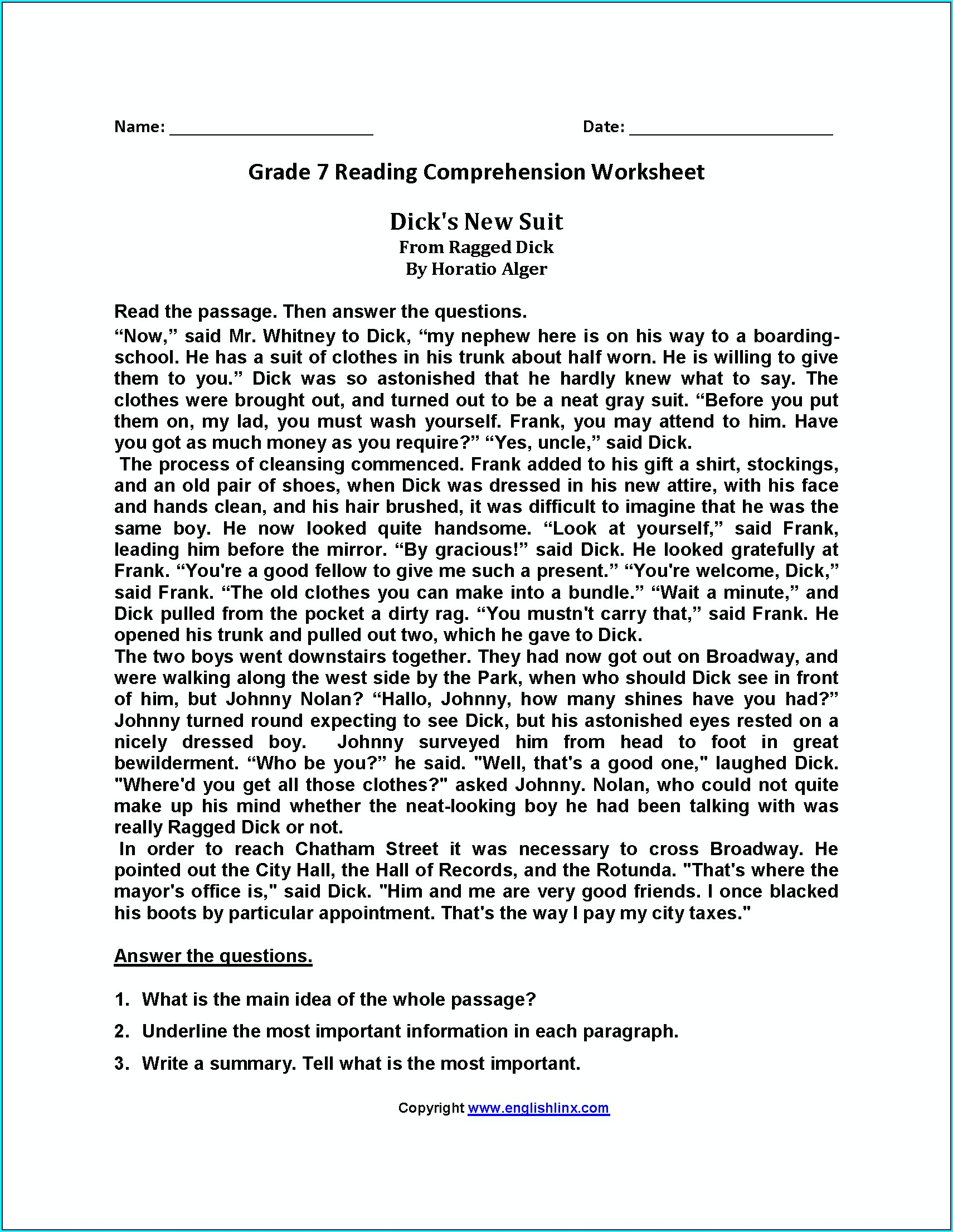 Reading Comprehension English Worksheet For Grade 7
