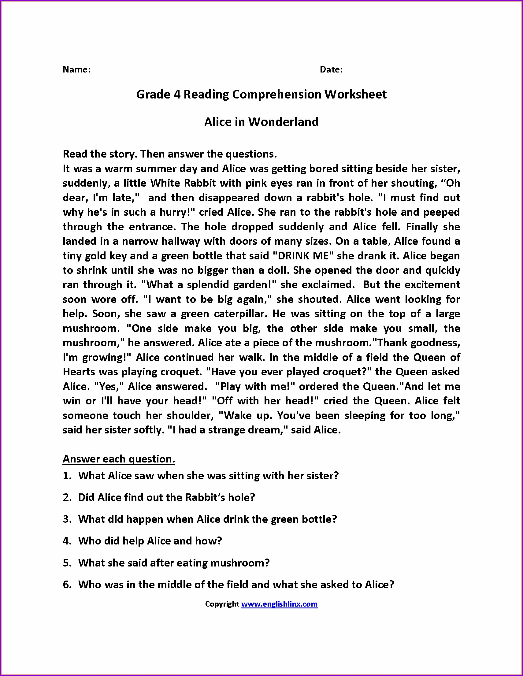 Reading Comprehension Worksheet Grade 4