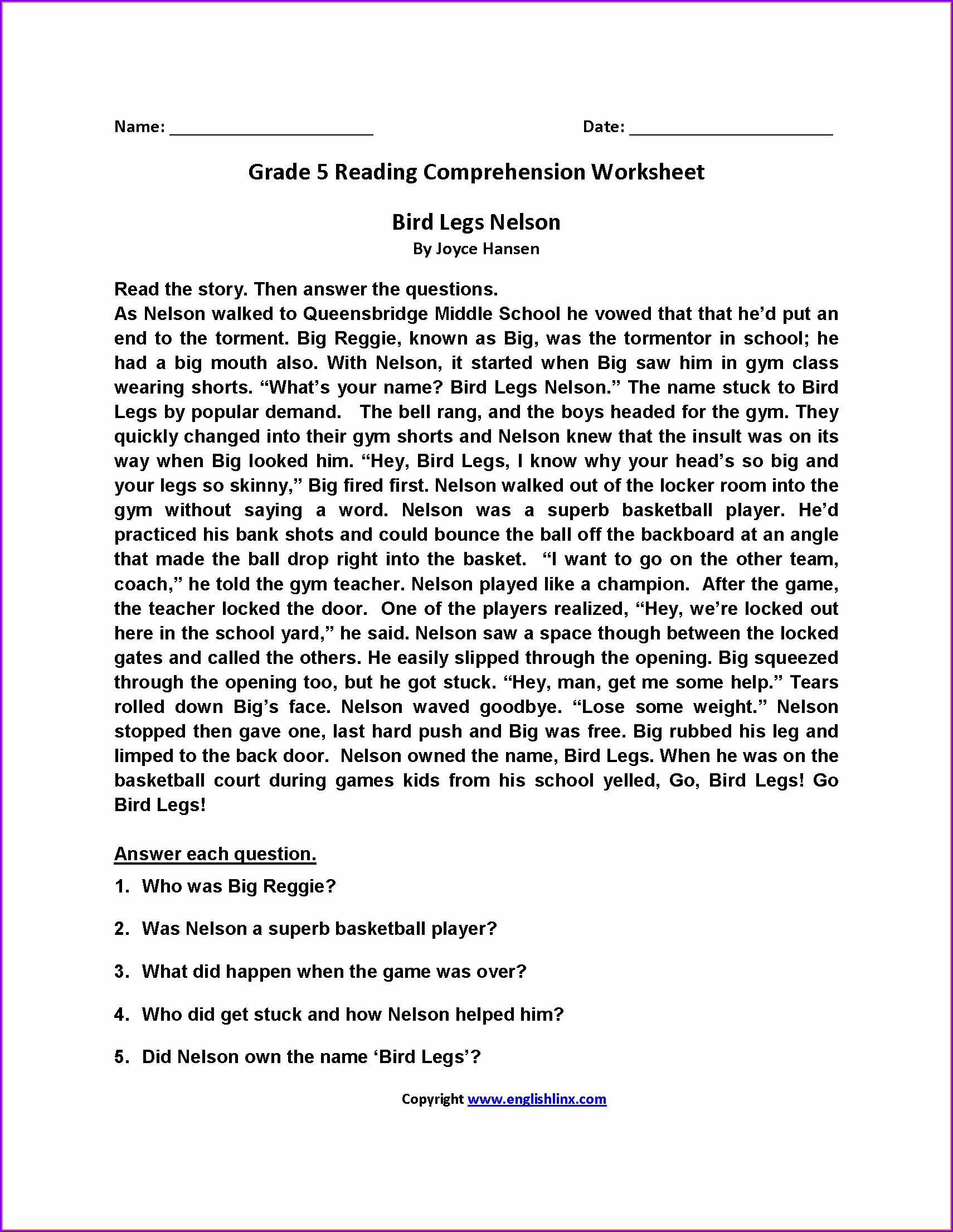 Reading Comprehension Worksheet Grade 5