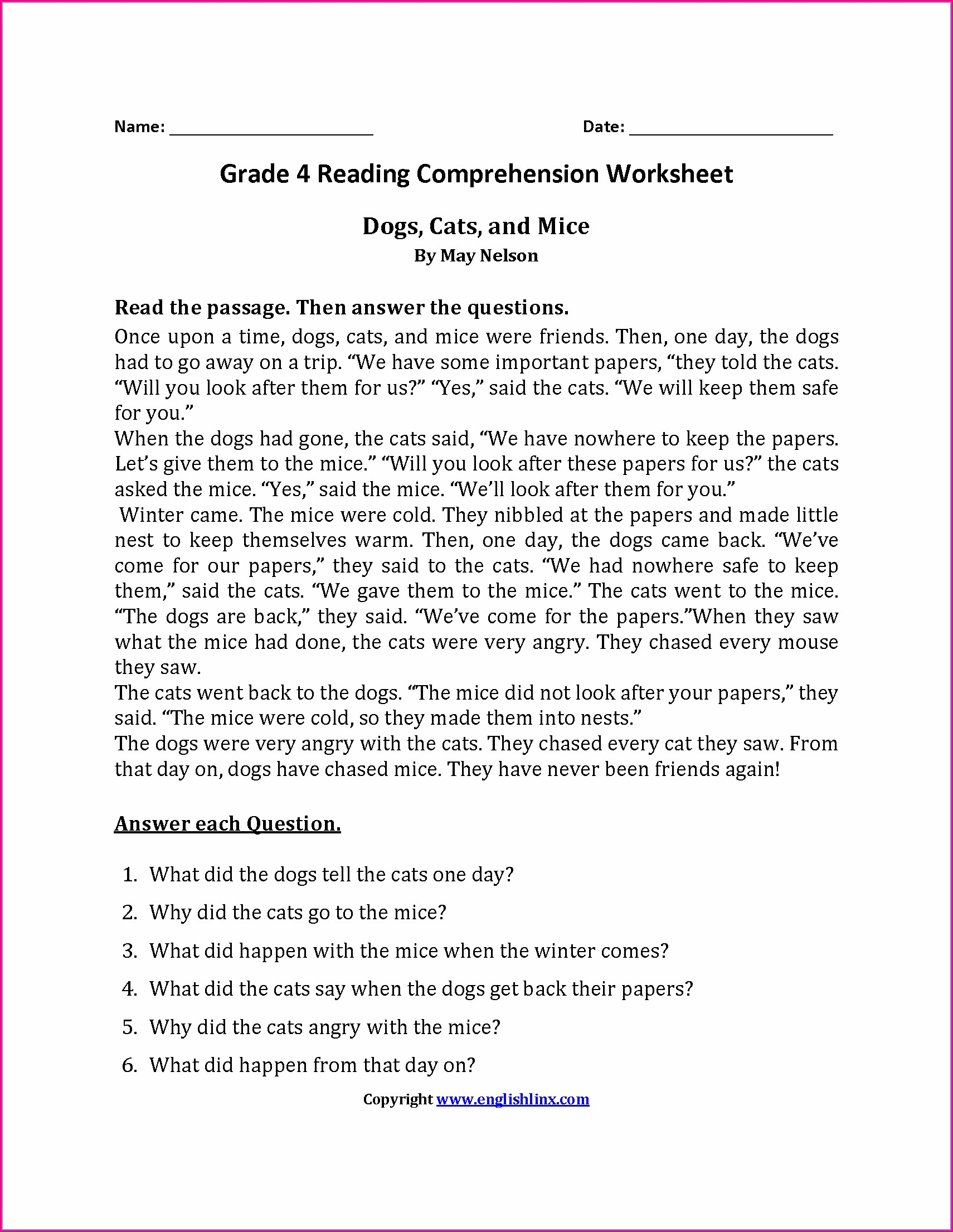 Reading Worksheet 4th Grade Pdf
