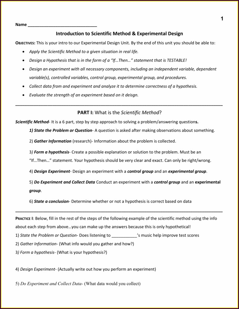 Science Experiment Write Up Worksheet