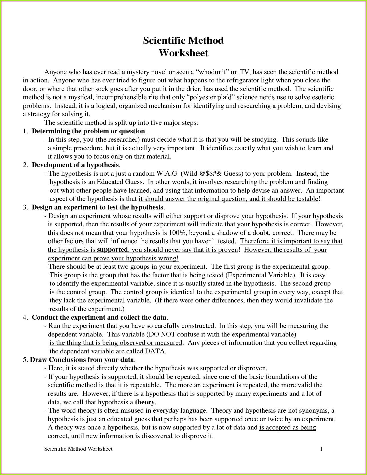 Scientific Method Worksheet High School Pdf