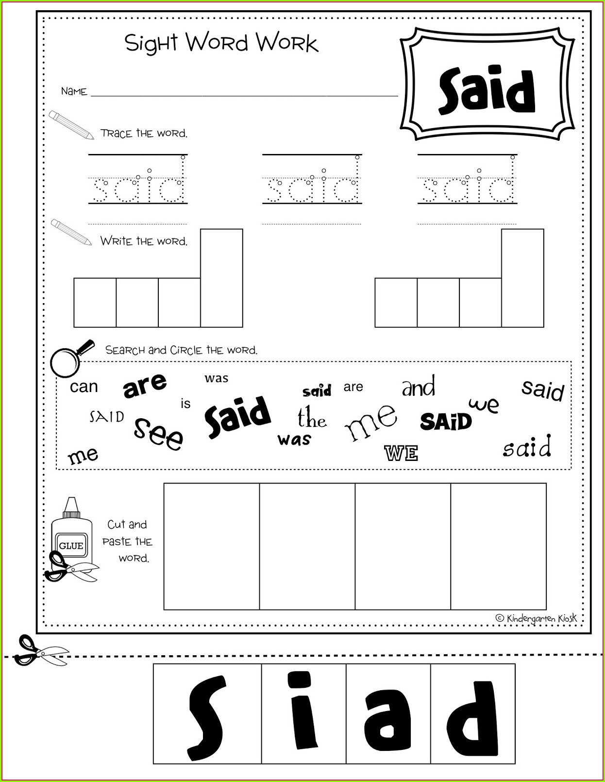 Sight Word Worksheet Maker