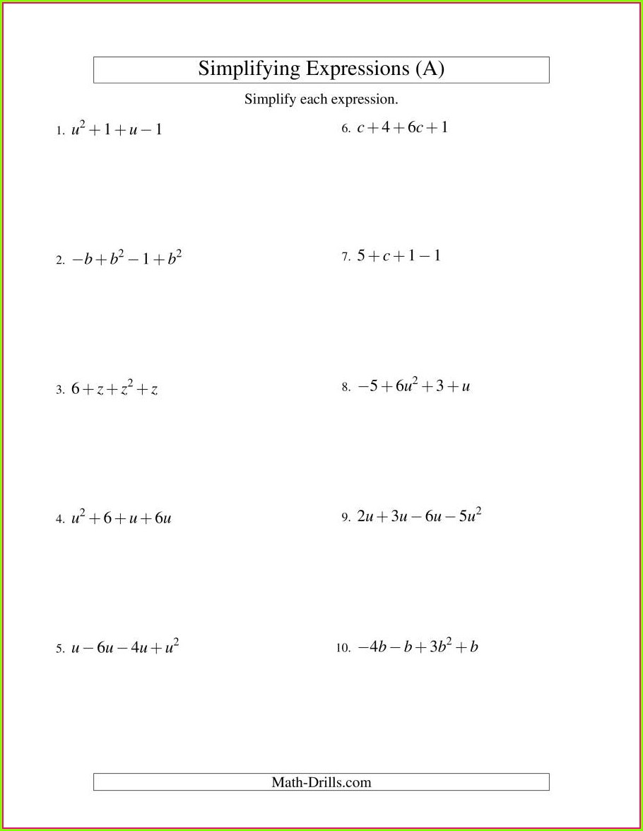 Simplifying Fractions Worksheet Level 5