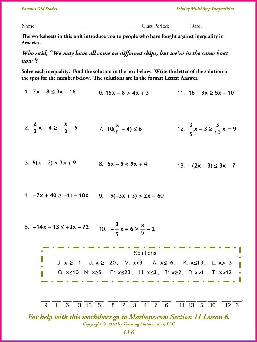 Solving One Two Step Inequalities Worksheet Answer Key