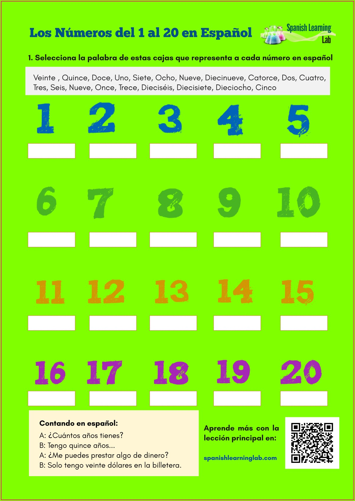Spanish Numbers 1 To 20 Worksheet