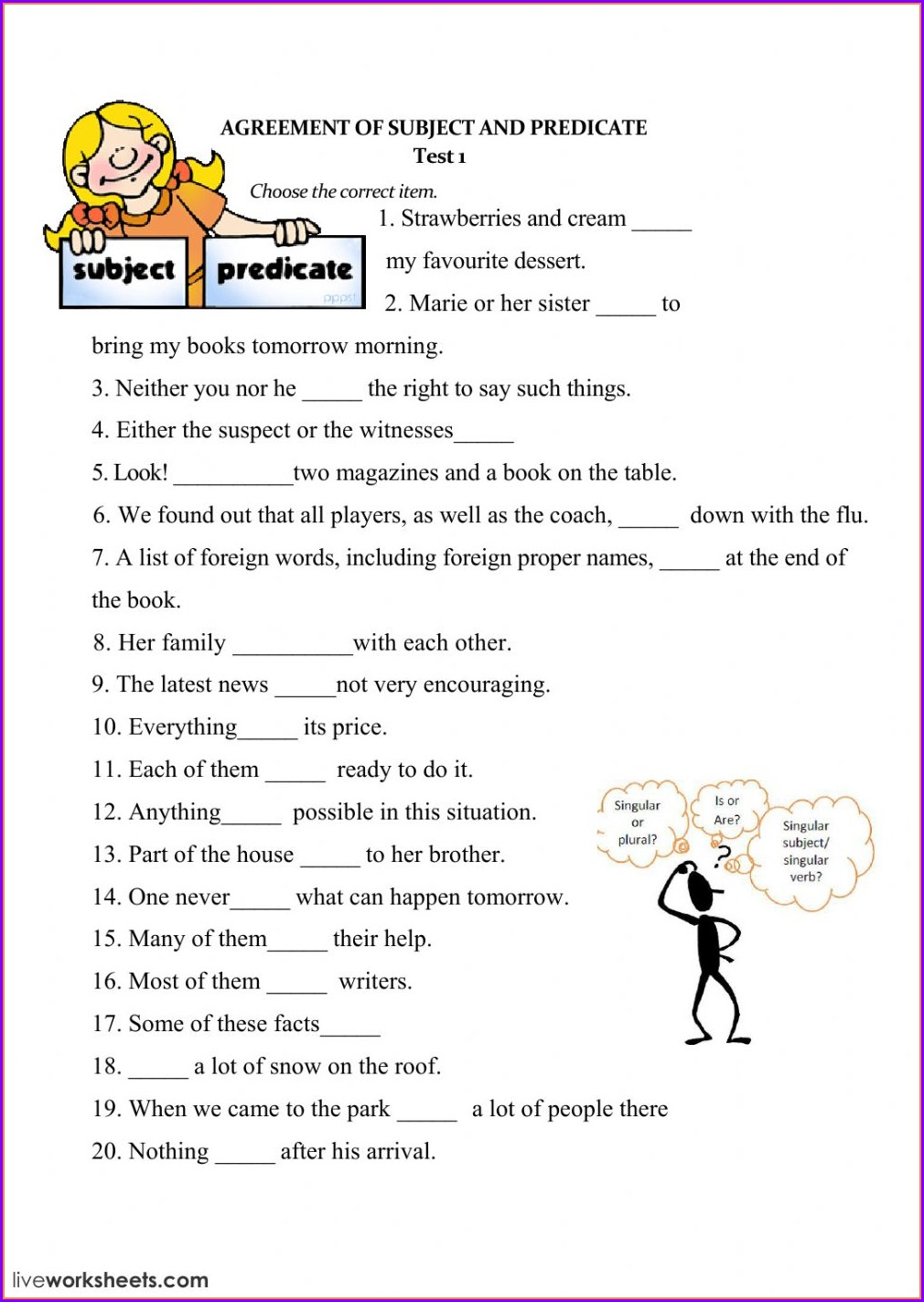 Subject Verb Agreement Exercises Elementary
