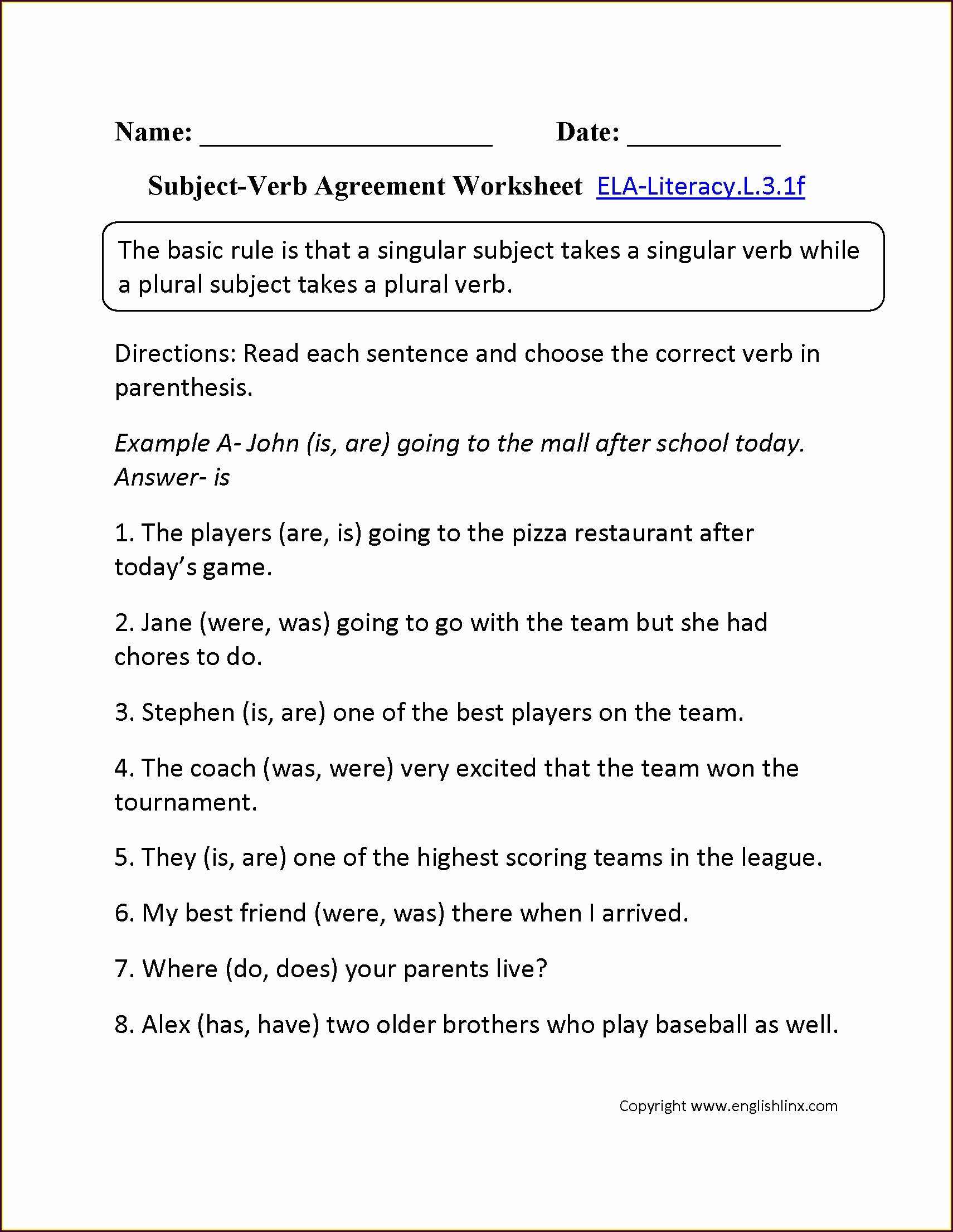 Subject Verb Agreement Worksheet 6th Grade Pdf