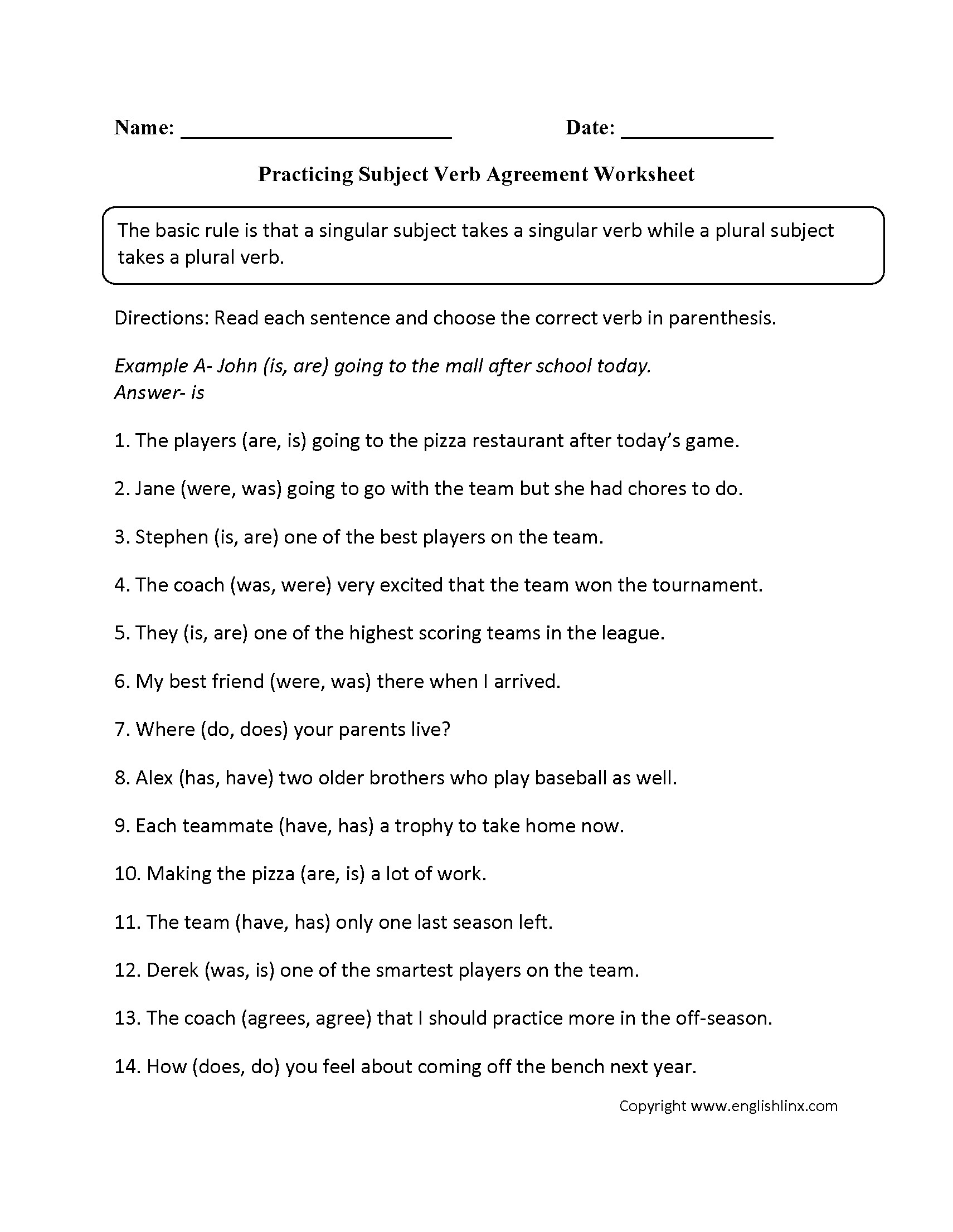 Subject Verb Agreement Worksheet Answer Sheet