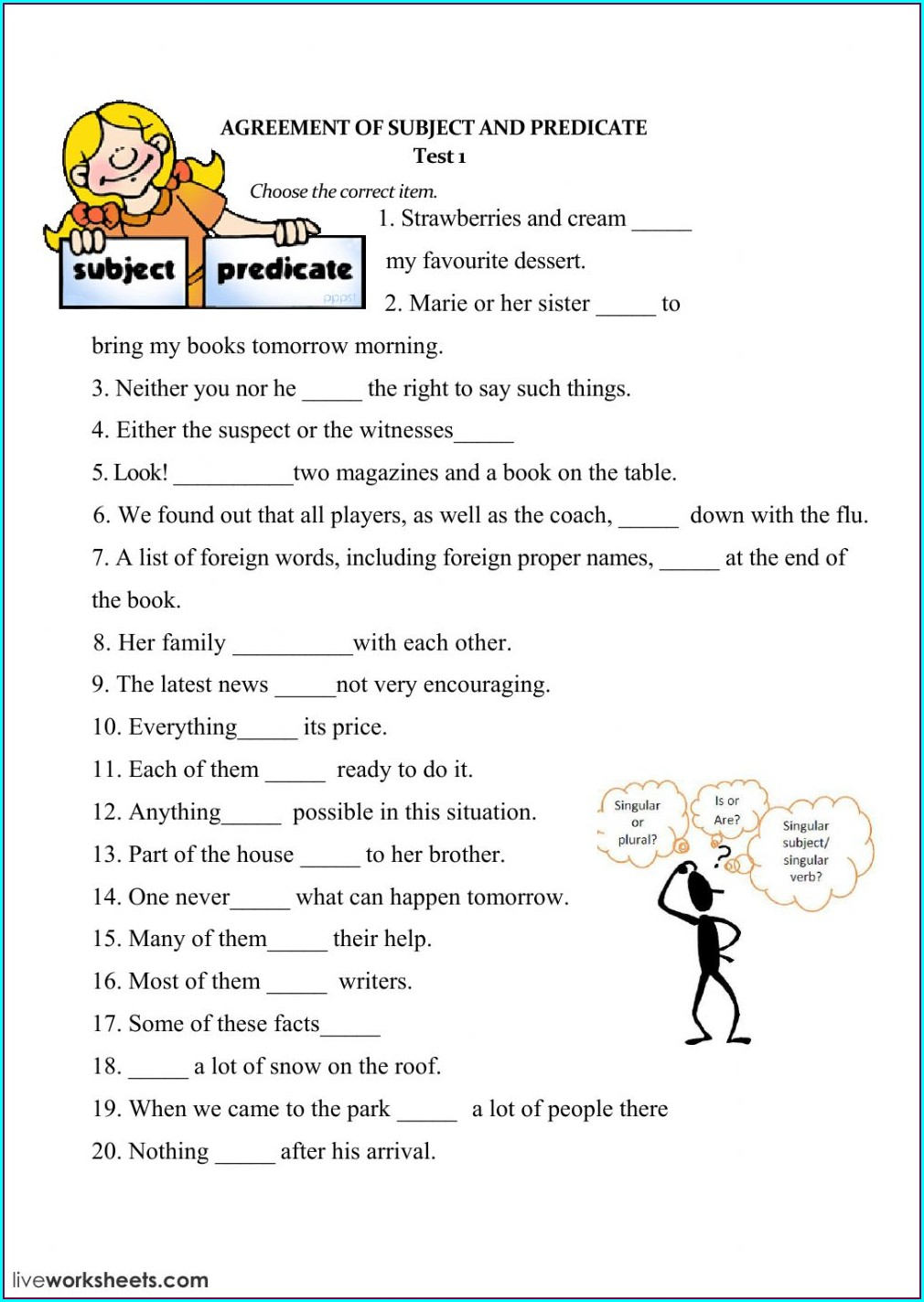 Subject Verb Agreement Worksheet Is And Are
