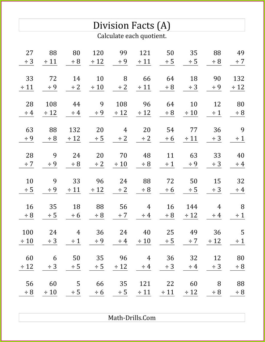 Subtraction Math Facts Worksheet